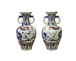 Pair Chinese Red Blue White Porcelain Dragon Ear Ring Vases cs3895 - $650.00