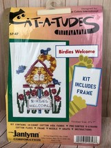 Vintage Janlynn Cat-A-Tudes Birdies Welcome Counted Cross Stitch Kit With Frame - $7.70