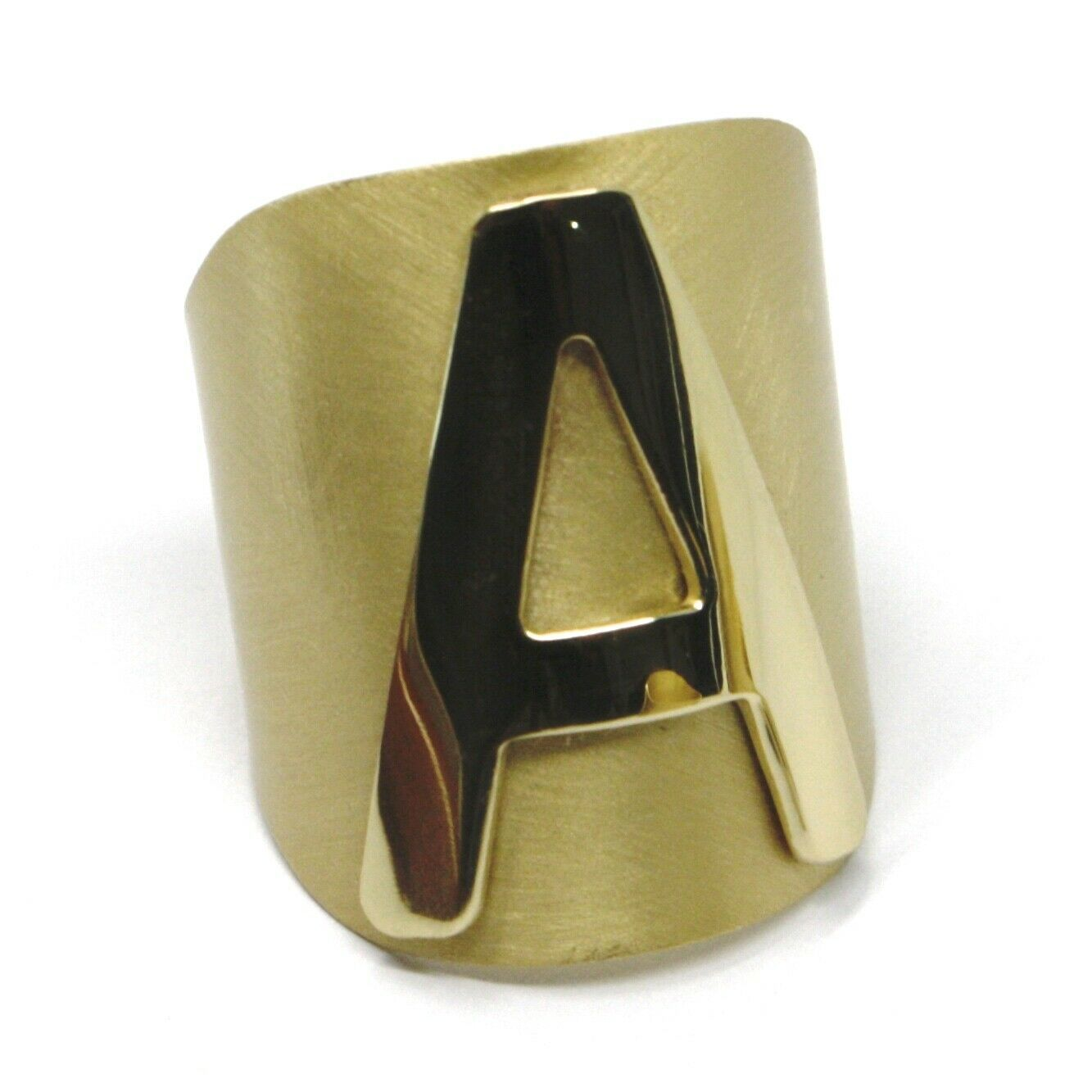 SOLID 925 STERLING SILVER BAND RING, BIG LETTER A, YELLOW SATIN FINISH, SIZABLE