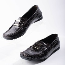 Stuart Weitzman Patent Leather Loafer Moccasin Driving Shoe Size 7.5 Brown Croco - $39.59