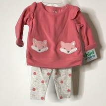 Carter's Child of Mine 2 Piece Outfit 0-3 Months Foxes Polka Dots New - $24.75
