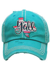 Distressed Embroidered Texas State Y'all Baseball Hat Vintage Style image 9