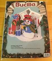 Bucilla Needlepoint Snowman Card Holder NEW SEALED Christmas Winter Craft Set - $17.17