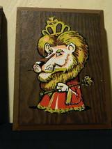 Vintage 70s Pressboard Character Decorative Hanging Plaque Lion King Kid... - $11.65