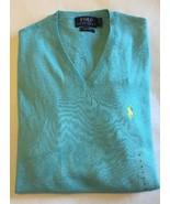 RALPH LAUREN hombre azul turquesa Pima Algodón Suéter Cuello en V pequeño - $79.07