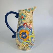 """Pfaltzgraff MERISELLA Jana Kolpen Mary Tiegreen Stoneware Floral Pitcher 12"""" - $34.64"""