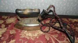 VINTAGE PORTABLE ELECTRIC IRON WOOD HANDLE REMOVABLE CORD - $24.70