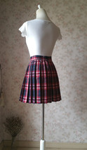 Red and Navy Plaid Skirt High Waisted Pleated Plaid Skirts Mini Plaid Skirt image 5