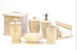 Exotic Sahara Beige Marble 7-Piece Bath Accessory Set of Atlantic Collec... - £191.55 GBP