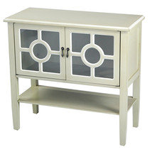 Beige Wood Clear Glass Console Cabinet with 2 Doors, a Shelf and Lattice... - $300.16