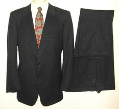 Hickey Freeman Suit 41L Gray Pinstripe Blue 2 Piece Wool 2 Button Mens Long - $63.99