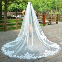 White or ivory 3M/10ft 1T lace edge cathedral veil with comb. W001 - $67.32