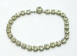 "Clear Glass Rhinestone Silver Tone Tennis Bracelet Vintage 7.5"" - $24.74"