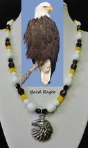 Bald Eagle artisan handcrafted genuine white agate, smokey topaz, yellow... - $105.00