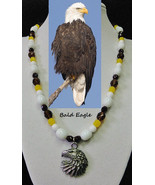 Bald Eagle artisan handcrafted genuine white agate, smokey topaz, yellow opal, & - $105.00