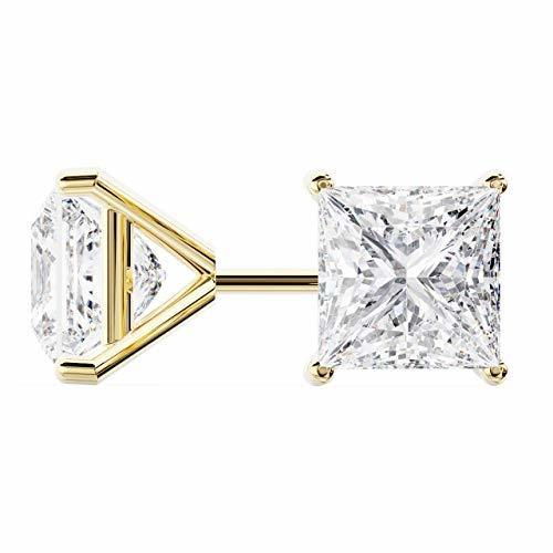 14k Yellow Gold Princess Cut Diamond Stud Earrings | Martini Setting | 1.50 Cara