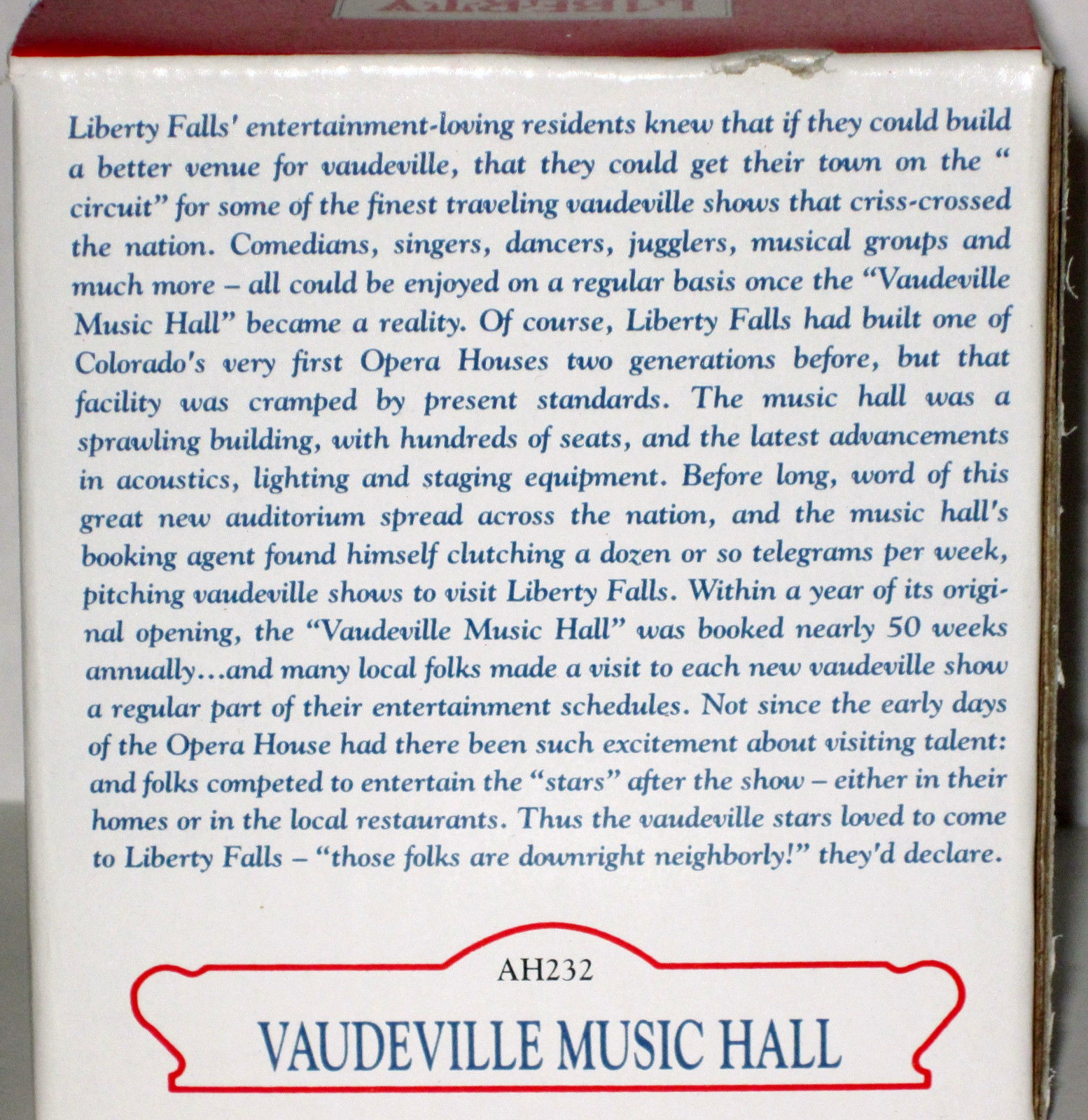 MIB 2001 LIBERTY FALLS VAUDEVILLE MUSIC HALL AH232 Americana Collection Village