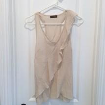 LOVELY DAY Beige LINEN Crepe BLOUSE Dressy Top - $14.99