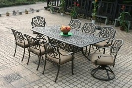 9pc Outdoor Patio Furniture Set Cast Aluminum Elisabeth Table Antique Br... - $2,125.53