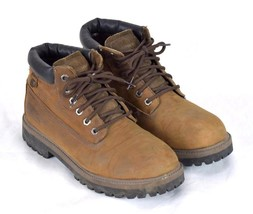 SKECHERS Distressed Brown Leather Lace Up Waterproof Ankle Hiking Boots ... - £25.80 GBP