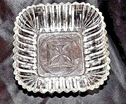 Cut Glass Square Bowl with Etched Design AA18-11815Vintage Heavy image 2
