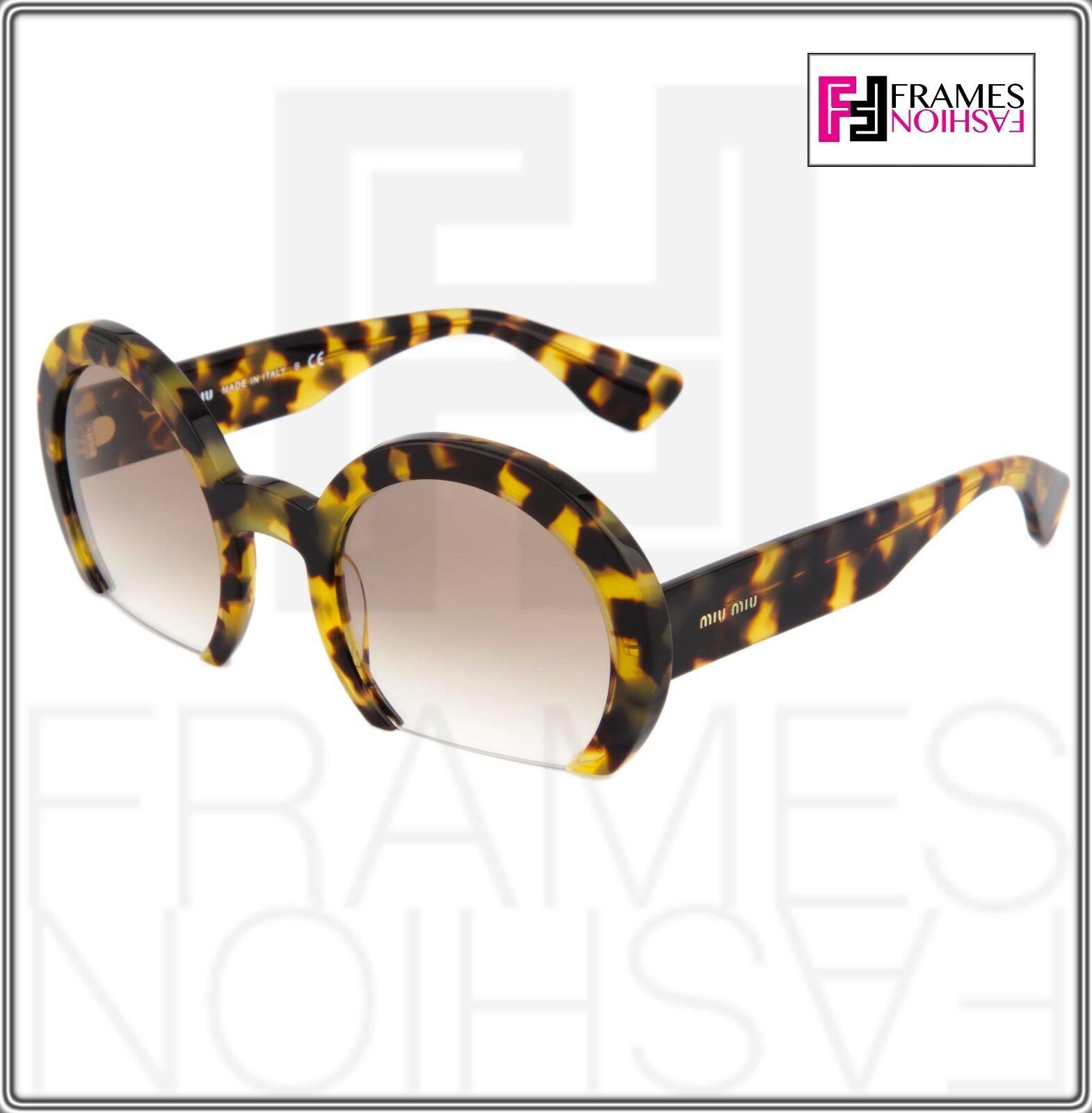 MIU MIU RASOIR Round Light Brown Havana Gradient Sunglasses 07Q MU07QS Women