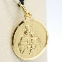 18K YELLOW GOLD SCAPULAR OUR LADY OF MOUNT CARMEL SACRED HEART MEDAL 19mm CARMEN image 5