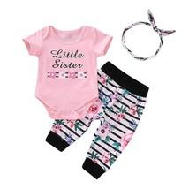 3pcs/set Kids Girls Letter Print Short Sleeve Romper Pants Headband 0 24... - $15.30