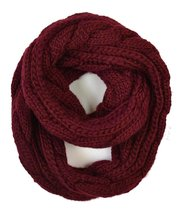Le Nom Solid Color Large Cable Knitted Infinity Scaf (Burgundy) - $13.85