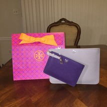 NWT Tory Burch York Duo Pouch Set in French Gray & Purple Iris with Gift... - $182.33