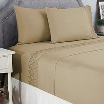 New Cozelle Royalty King Microfiber Embroidered 4-Piece Sheet Set Tan Sh... - $39.99