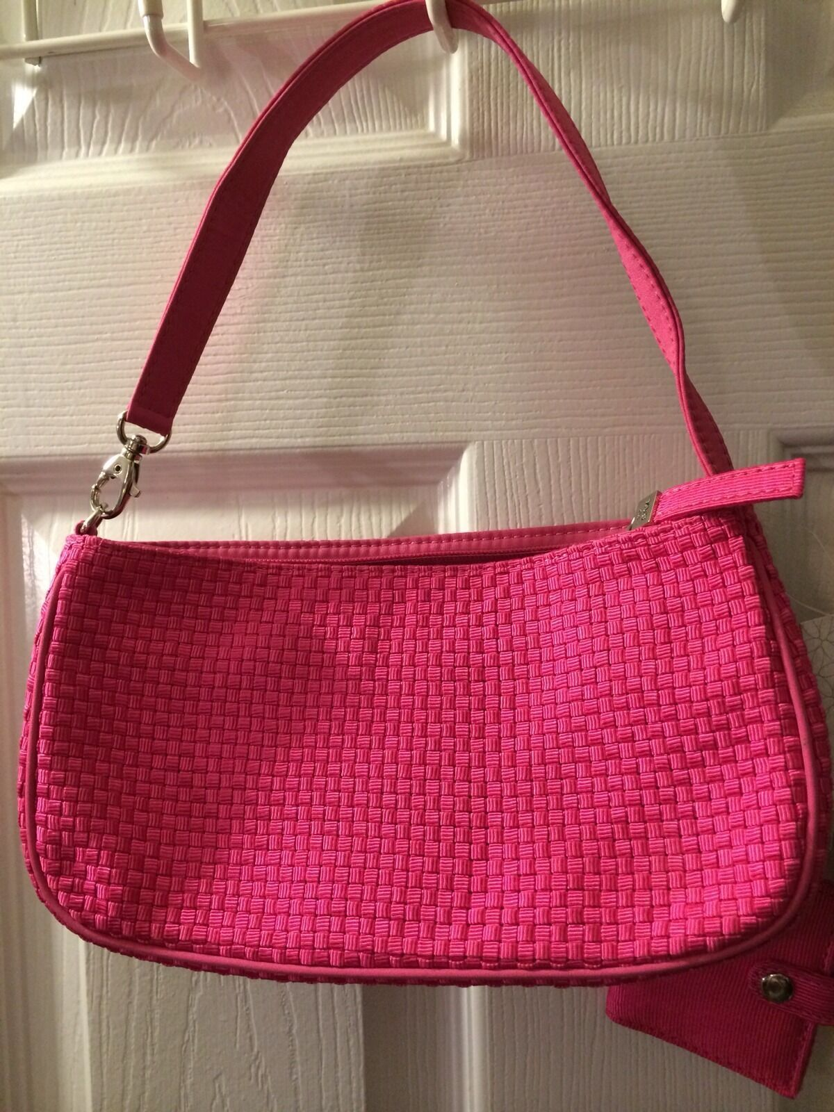 New THE SAK Purse Fuchsia Pink Woven Photo Keychain Shoulder Hobo Handbag NWT