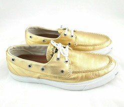 Jack Purcell Gold Leather Slip On Boat Shoes Womans 9 Metallic Limited E... - $38.65