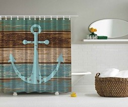 Waterproof Shower Curtain Nautical Anchor Hooks Set Polyester Bathroom D... - $20.68