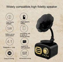 Portable Mini bluetooth Speaker Retro Wooden Wireless Gramophone Loudspe... - $57.62 CAD