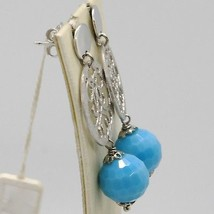 925 STERLING SILVER PENDANT EARRINGS WITH SATIN WORKED DISC FACETED BLUE QUARTZ image 2