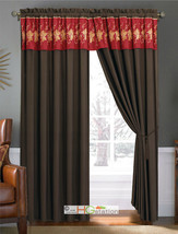 4-Pc Gold Floral Motif Embroidery Curtain Set Burgundy Brown Tan Valance Sheer - $40.89