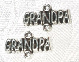 GRANDPA FINE PEWTER DOUBLE LOOP CONNECTOR CHARMS - 18mm L x 11mm W x 2mm D