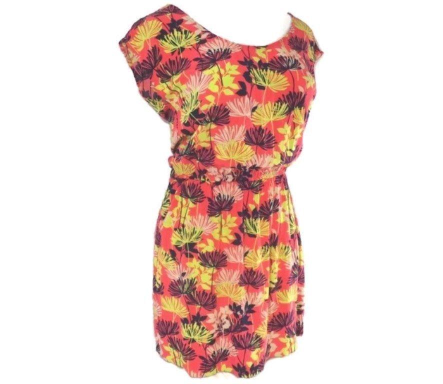 BANANA REPUBLIC Floral TUNIC DRESS M Scoop Neck Cap Sleeves EUC - $24.98