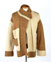Vtg Cardigan Sweater Jacket Brown Chunky Wool Knit Swing Jumper Women XL... - $24.74