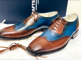Handmade Men's Brown & Blue Wing Tip Brogues Lace Up Dress/Formal Oxford Shoes image 4