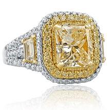 4.72 TCW Radiant Cut Yellow Trapezoid Side Diamond Engagement Ring 18k White Gol - $14,849.01