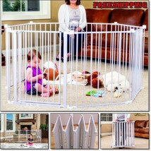 Large Metal Fence Extra Wide Gate Kids Baby Infant Pet Playpen Panel Cag... - $129.28
