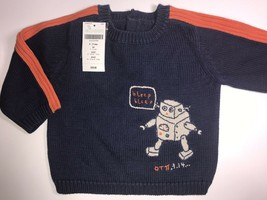 New Gymboree Boys Sweater 9-12 Months Robot Science Navy Blue Pullover - $10.52
