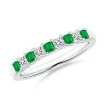 Princess cut Natural Emerald Diamond Half Eternity Womens Wedding Band 0... - $1,048.70+