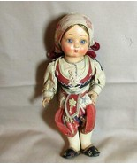 "Vintage Polish Ethnic Doll, Jointed Hard Plastic, 10 1/2"" - $17.75"