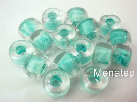 25 5 x 9mm Czech Glass Roller Beads: Crystal - Light Green Lined - $2.26