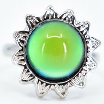 Sunflower Flower Silver Tone Round Cabochon Color Changing Adjustable Mood Ring image 5