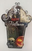 Halloween Wall Hanging Plaque Sign Decor 3D Skull Happy Halloween Pumpki... - $14.01