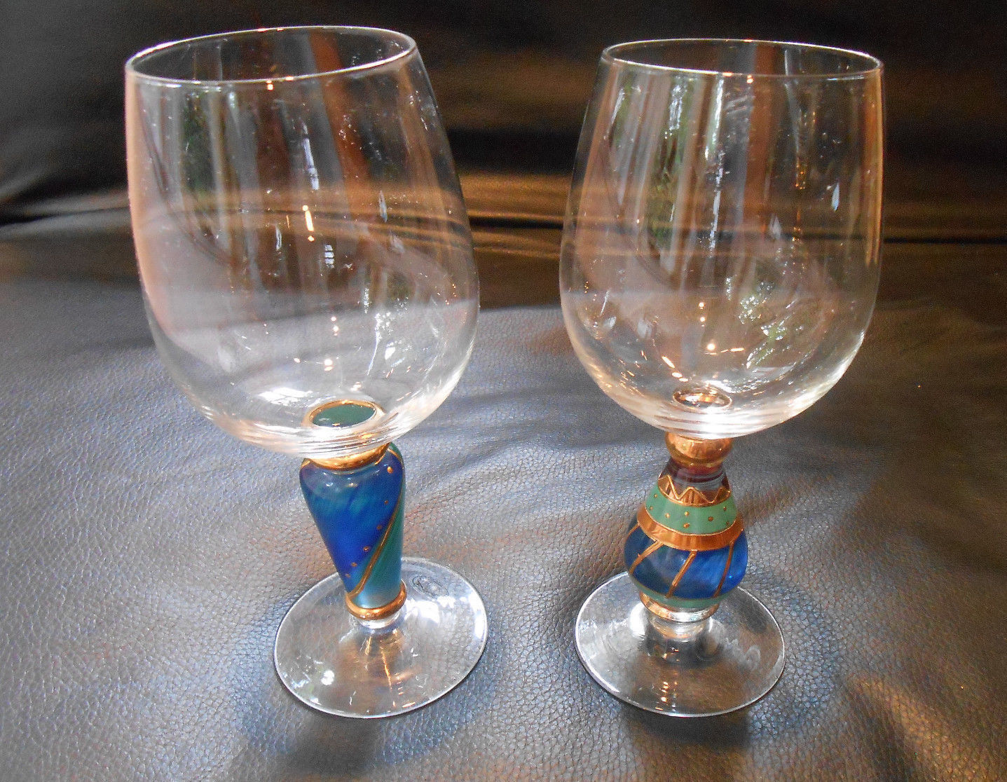2 hand painted wine goblets by Home Essentials